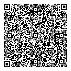 QR barcode with full contact info for phone scanning.